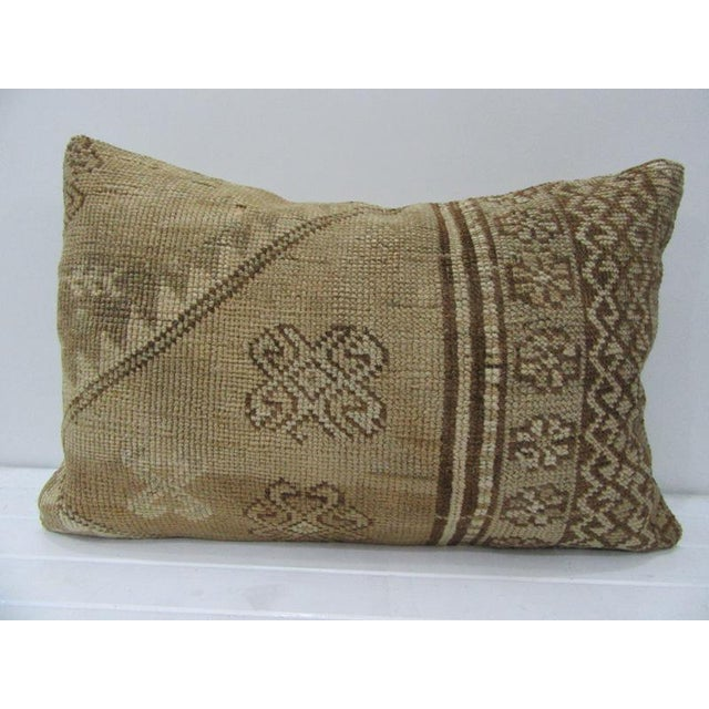 Vintage Turkish Tan & Brown Handmade Pillow - 24ʺW × 16ʺH For Sale - Image 4 of 4