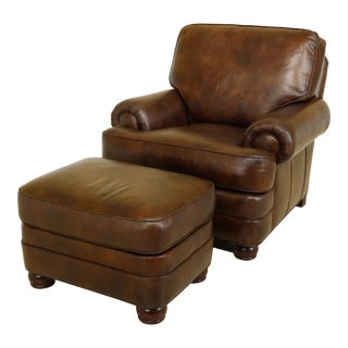 Hancock and Moore Brown Leather Chair & Ottoman For Sale