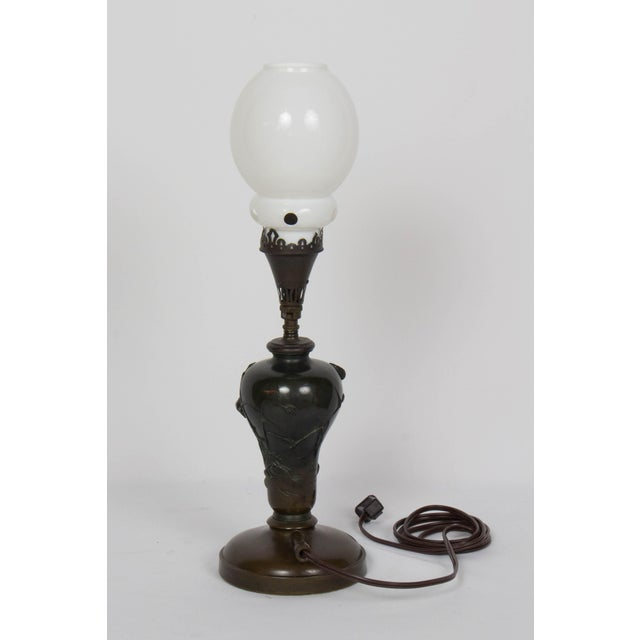 Asian Mid 19th Century Vintage Meiji Japanese Bronze Gas Lamp For Sale - Image 3 of 12