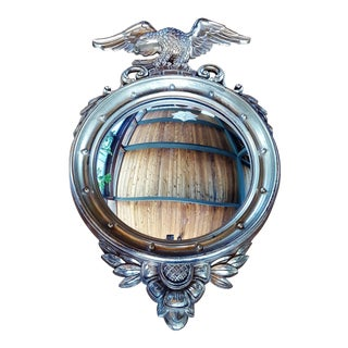 Vintage Syroco Traditional Gold Federal Eagle Convex Mirror For Sale