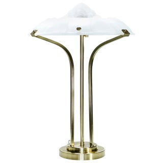 Art Deco Brass and Frosted Glass Lamp, 1940s For Sale