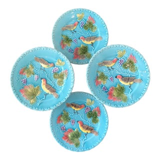 Georg Schmider Birds and Berries on Turquoise Blue Majolica Plates - Set of Four For Sale