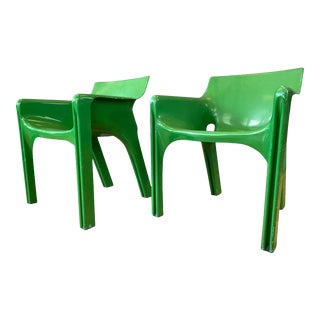 Pair of Vico Magistretti for Artemide Green Gaudi Armchairs, Early 1970s For Sale