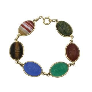 Vintage 14k Gold Large Carved Scarab Bracelet For Sale