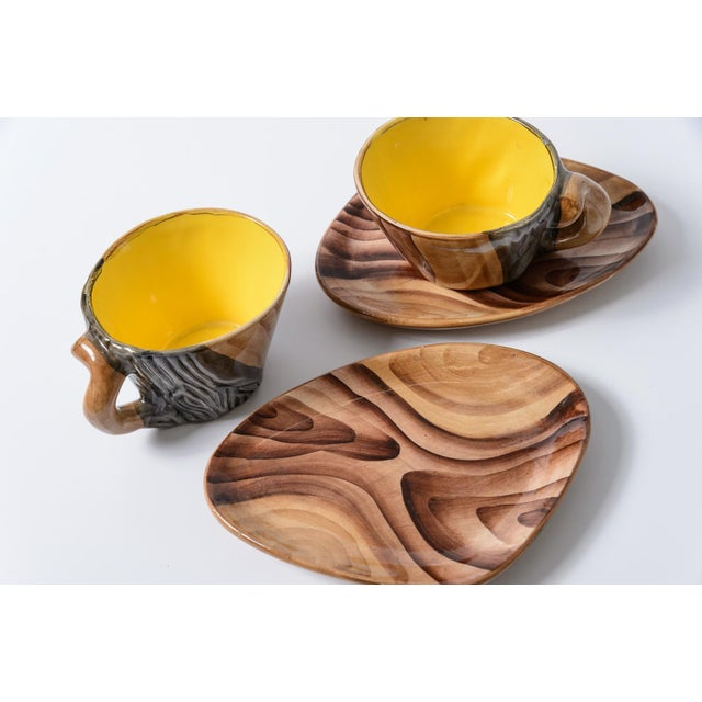 "French Vallauris Faux Bois ""Tete a Tete"" Coffee Set - Image 7 of 10"
