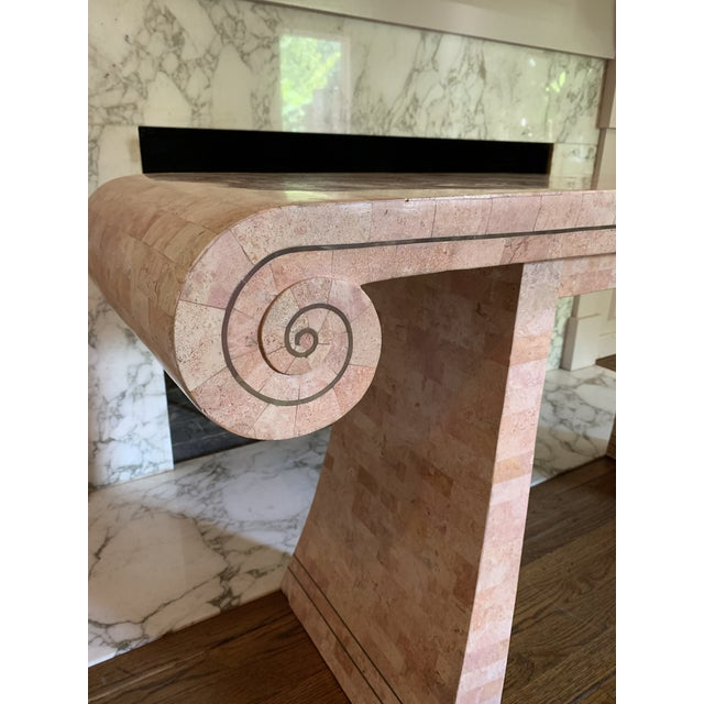 1980s 1980s Hollywood Regency Maitland -Smith Tessellated Pink Scroll Marble Console Table For Sale - Image 5 of 13