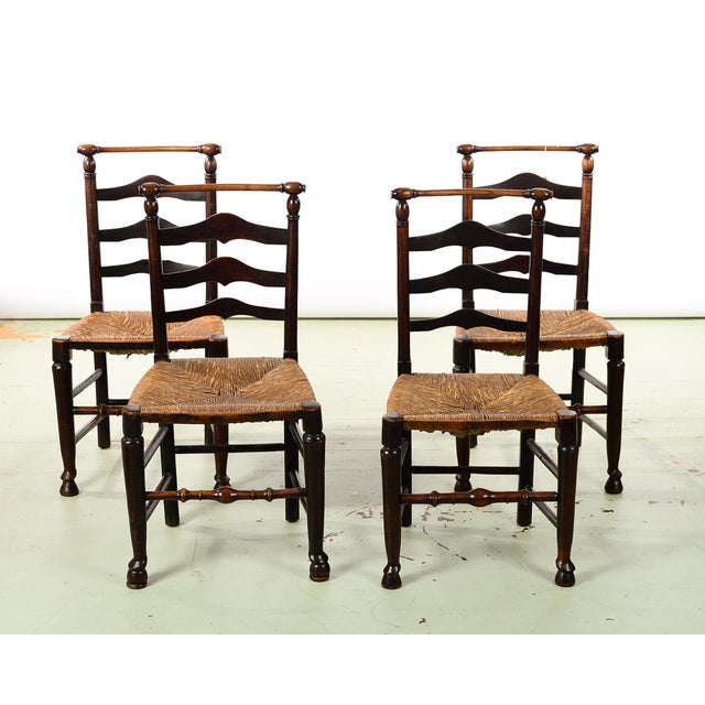 Brown 18th century set of 4 Fabulous Country carved Ladder Back Chairs For Sale - Image 8 of 8