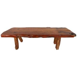 Mid-Century Rustic Wood Slab Coffee Table For Sale