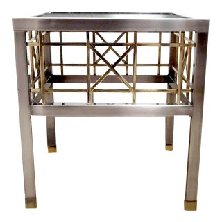 Hollywood Regency Campaign Brass Brushed Nickel & Mirrored Side Tables For Sale