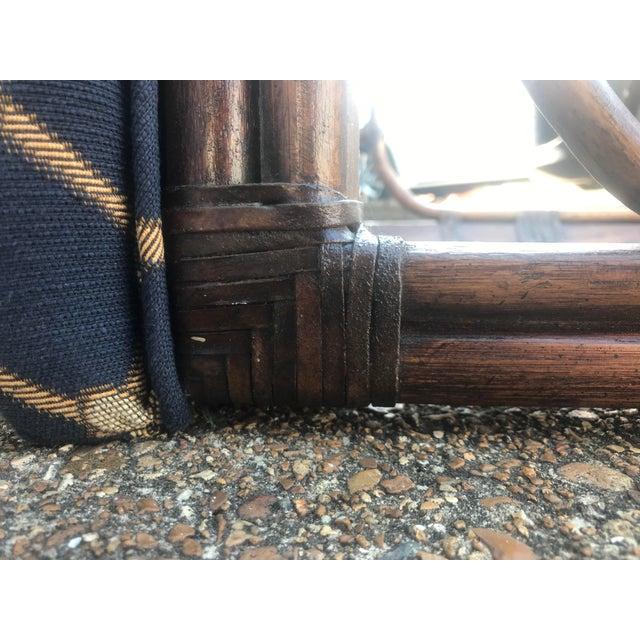 1990s Vintage Henredon Long Upholstered Rattan Bench For Sale - Image 9 of 10
