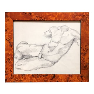 Vintage Original Male Nude Study Charcoal Drawing For Sale