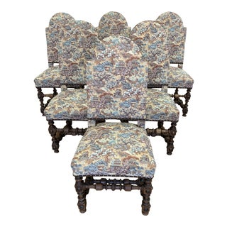 Vintage Mission Style Chinoiserie Dining Chairs- Set of 6 For Sale