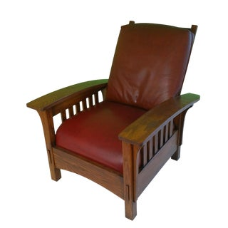 Arts & Crafts Oak Wood Recliner Chair