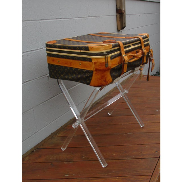 Mid-Century Modern Lucite Folding Luggage Rack For Sale - Image 4 of 9