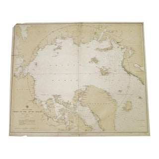Antique 1885 North Polar Regions Chart of the Arctic Ocean Nautical Chart No. 963 For Sale