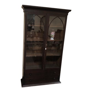 Antique English Glass Front Cabinet For Sale