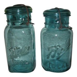 Blue Ball Ideal Fruit Jars - a Pair