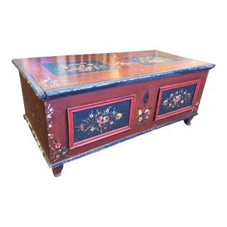 Antique German Painted Pine Wedding Chest For Sale