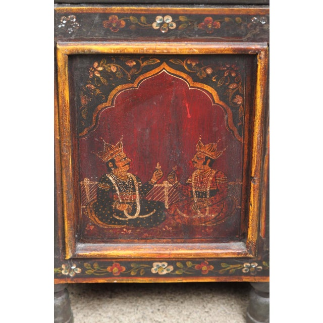 20th Century Anglo Indian Hand-Painted Teak Coffee Table For Sale In Los Angeles - Image 6 of 10