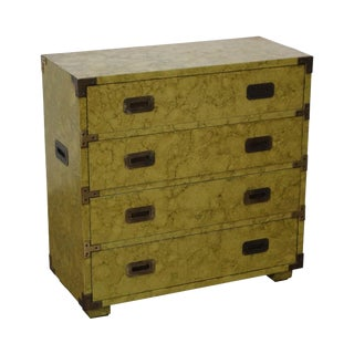 Henredon Vintage Faux Painted Campaign Chest of Drawers For Sale