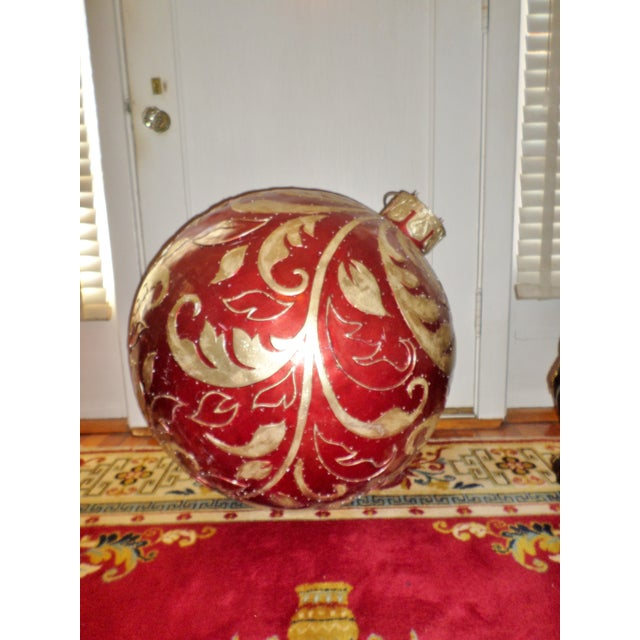 """This is a Christmas Store Display/ Prop Vintage Fiberglass Ornate 30"""" Christmas Ornament that is a Cherry Clear Coat Red..."""