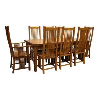Crafters and Weavers Mission Stow Leaf Table & High Back Chair Dining Set - Light Oak - 9 Pieces For Sale