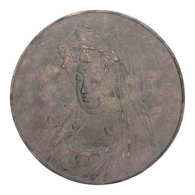 Solid Cast Iron Quan Yin Bas Relief Temple Wall Hanging For Sale