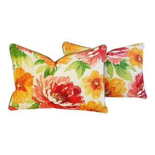 "Floral & Scalamandre Velvet Feather/Down Lumbar Accent Pillows 26"" X 18"" - Pair For Sale"