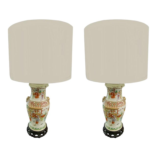 19th Century Chinese Qing Canton Porcelain Lamps - a Pair For Sale