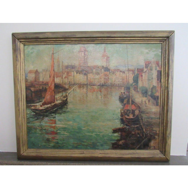Up for offer here is an original oil painting on canvas of a Canal Scene with boats by American artist and illustrator,...