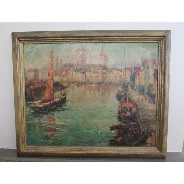 Joseph Sloman Antique Canal Scene Oil Painting - Image 2 of 8
