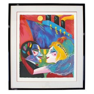 Contemporary Framed Serigraph Love on Boat Earl Linderman Signed 1988 190/200 For Sale