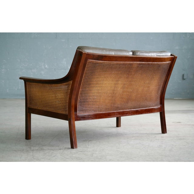 Torbjørn Afdal Settee in Olive Colored Leather and Woven Cane for Bruksbo, 1960s For Sale - Image 12 of 13