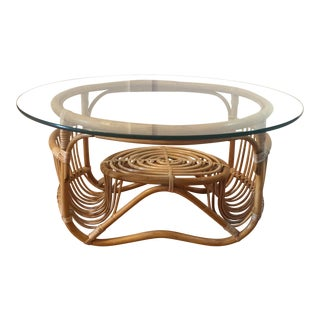 1950s Vintage Italian Modernist Franco Albini Style Rattan & Reed Coffee Table For Sale