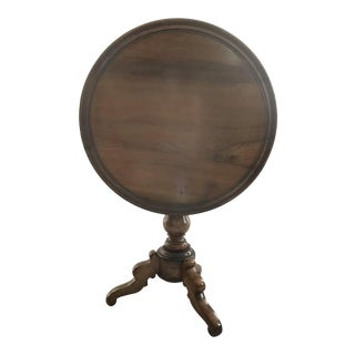 19th Century French Round Walnut Side Tilt Top Table For Sale