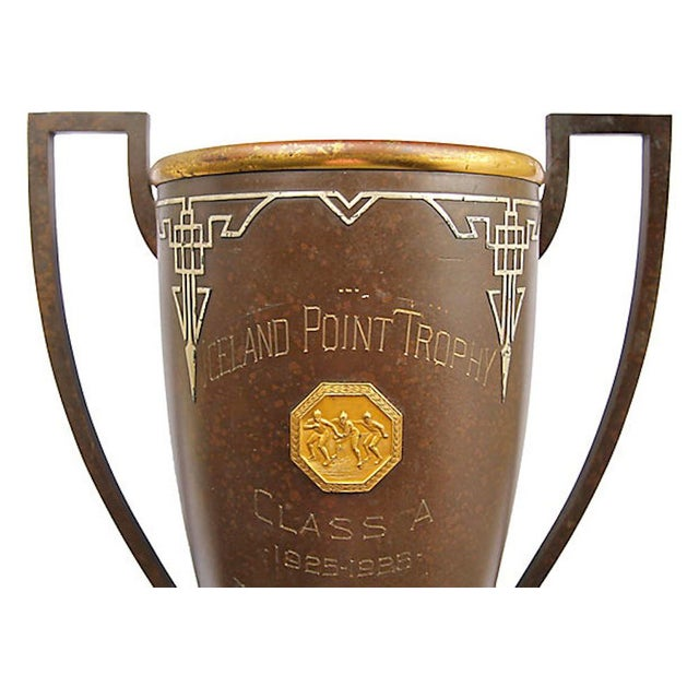 """Very rare speed skating trophy marked """"Iceland Point Trophy / Class A / 1925-1926 / won by Ed Searle. Trophy was..."""