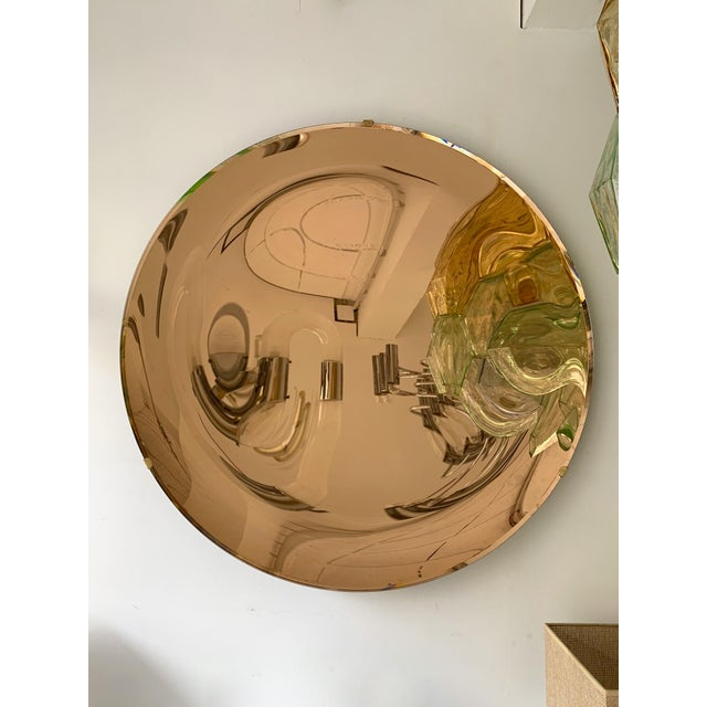 Metal Italian Contemporary Curve Convex Mirror For Sale - Image 7 of 11