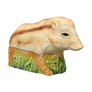 Midcentury French Majolica Boar Pâté Tureen For Sale