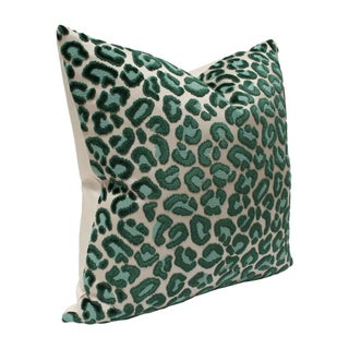Contemporary Emerald Green Cheetah Pillow - 22x22 Preview