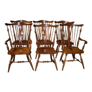 Vintage Vogler Shaped Windsor Style Cherry Dining Chairs- Set of 6 For Sale