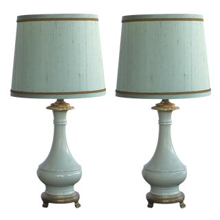 An Elegant Pair of French Celadon-Glazed Lamps For Sale