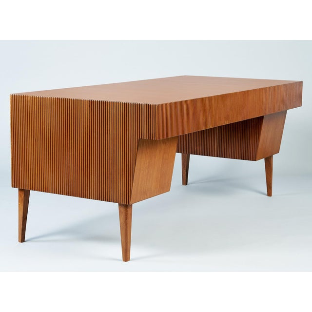 Metal 1950s Mid-Century Modern Gio Ponti Monumental Desk and Chair Set - 2 Pieces For Sale - Image 7 of 11