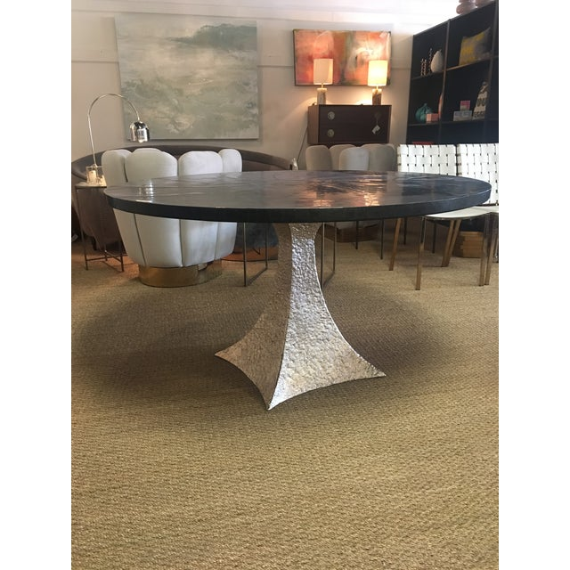 Made Goods Noor Dining Table with Silver Bumpy Base & Zinc Top ...