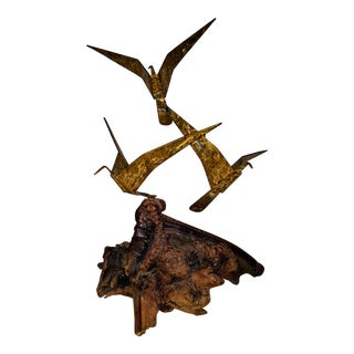 1970s Vintage Polished and Textured Brass on Burl Wood Base Seagull Sculpture