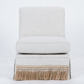 Casa Cosima Skirted Slipper Chair in Oatmeal Linen, a Pair Preview