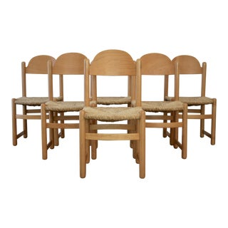 Charlotte Perriand-Influenced Rush Chairs, Set of 6