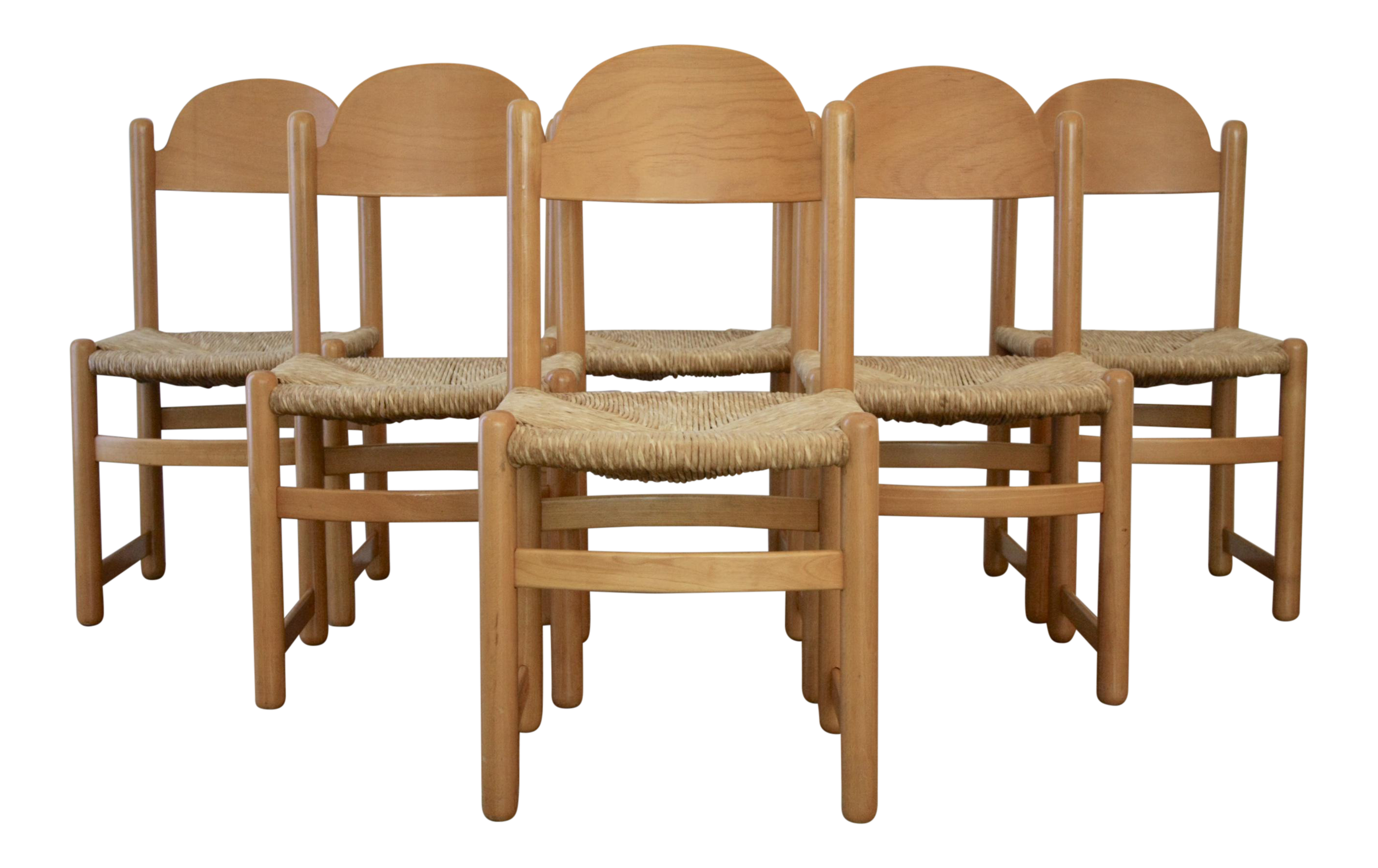 Charlotte Perriand Influenced Rush Chairs, Set Of 6
