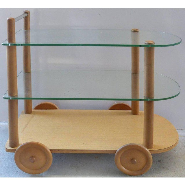 1940s Oak and Glass Two-Tier Bar Cart by Gilbert Rohde For Sale - Image 10 of 11