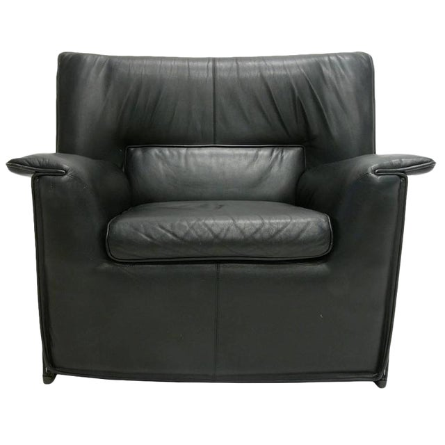 Afra and Tobia Scarpa for B & B Italia Black Leather Lounge Chair For Sale