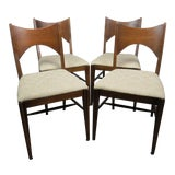 Image of Mid-Century Modern Walnut Bowtie Dining Chairs by Lenoir - Set of 4 For Sale